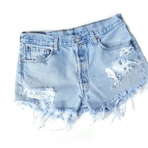 Vintage Levi's Hand Distressed High Waisted Shorts